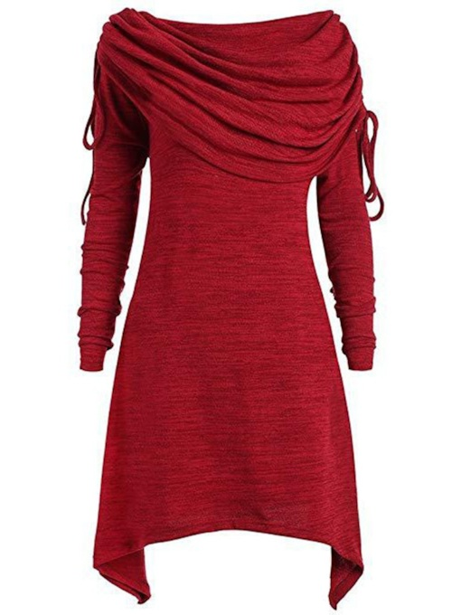 Pleated Asymmetric Long Women's Hoodie