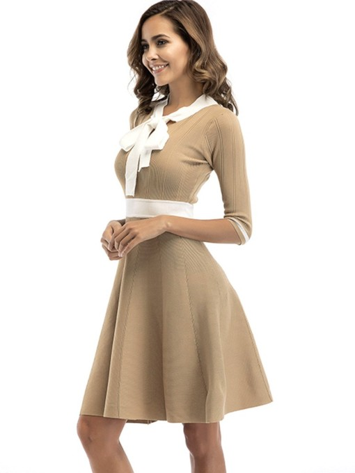 Bowtie Half Sleeves Women's Day Dress