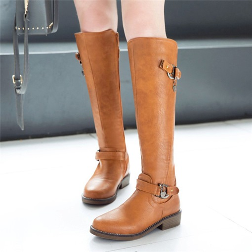 Round Toe Side Zipper Plain Block Heel Classical Knee High Boots