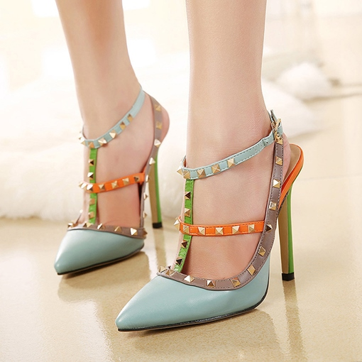 Pointed Toe T-Shaped Buckle Stiletto Heel Strappy Chic Women's Sandals