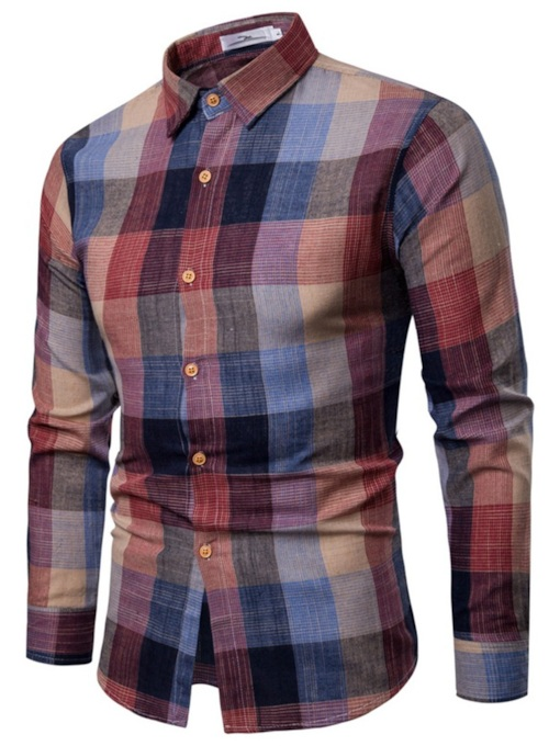 Plaid Patchwork Lapel Casual Slim Men's Shirt