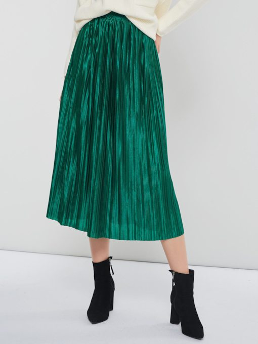 Pleated High-Waist Ankle-Length Plain Women's Skirt