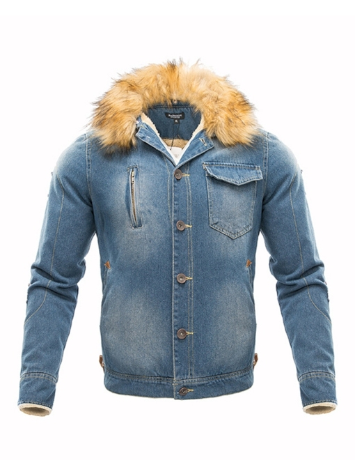 Thick Patchwork Hooded Single-Breasted Denim Men's Jacket