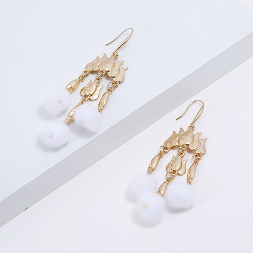 Pompon Shape Tassel Fall Winter Pierced Earrings