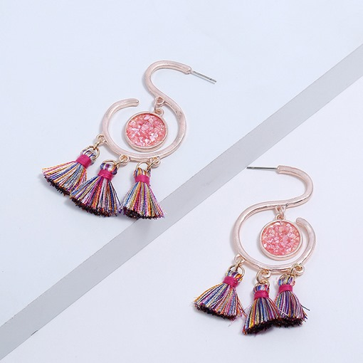 Ethnic Style S Shape Colored Tassel Earrings