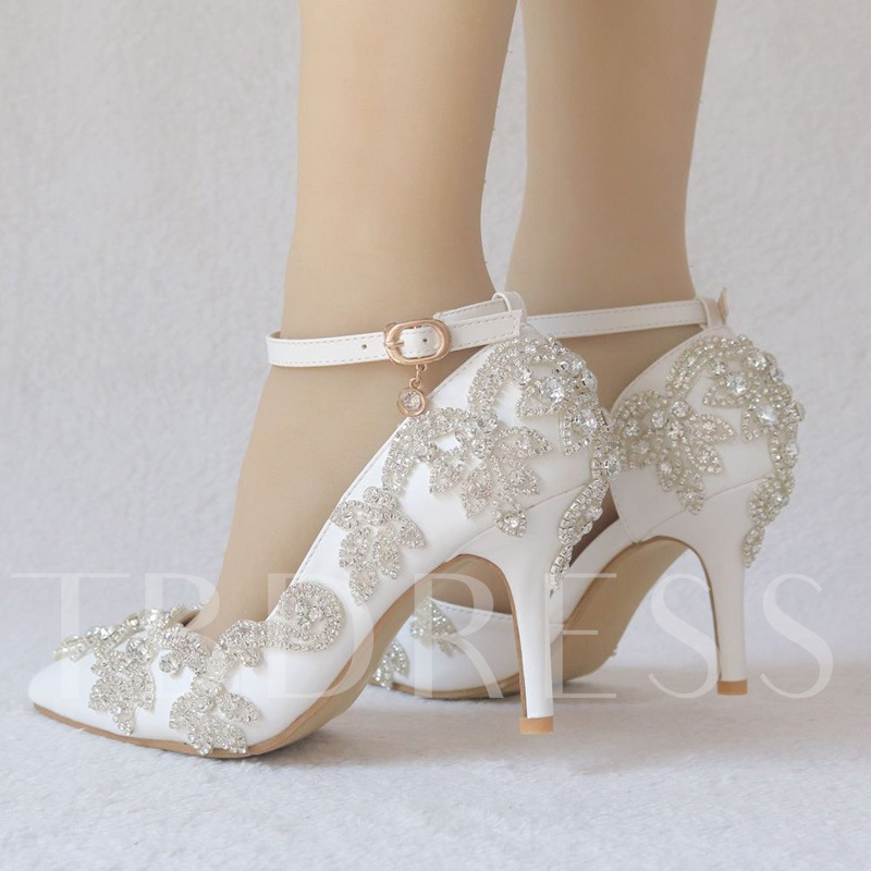 Pointed Toe Stiletto Heel Line-Style Buckle Rhinestone Wedding Shoes