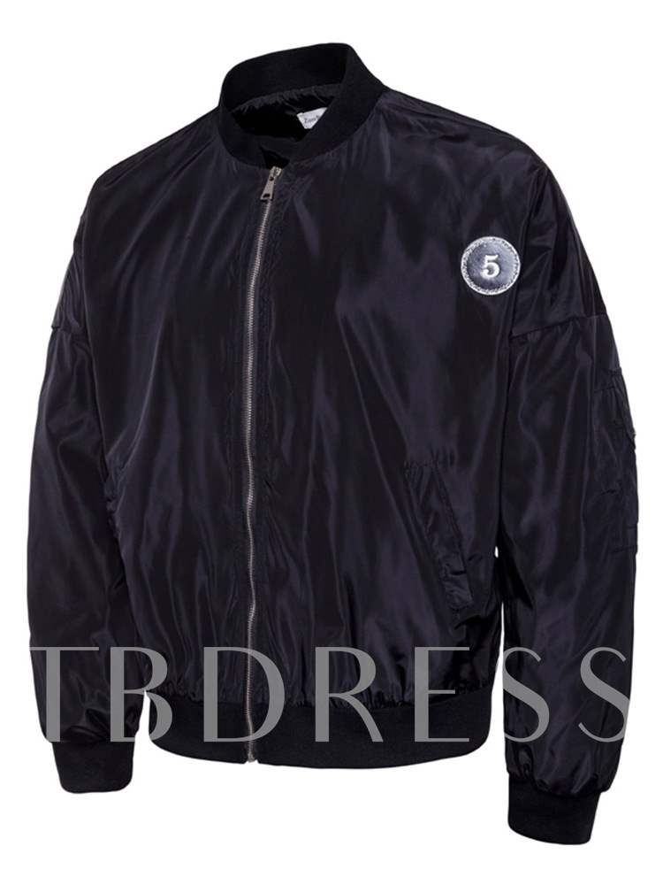 Buy Zipper Stand Collar Slim Print Casual Men's Jacket, Fall,Winter, 13507830 for $52.34 in TBDress store