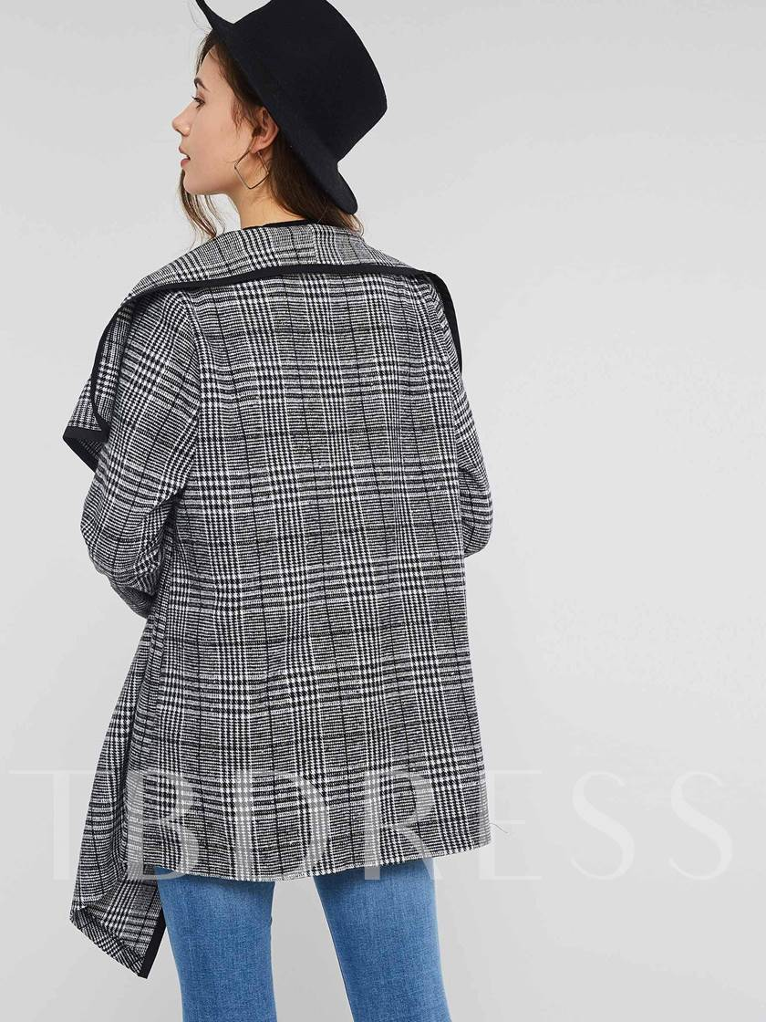Wide-Lapel Houndstooth Wrapped Women's Overcoat