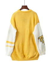 Loose Color Block Letter Women's Sweater