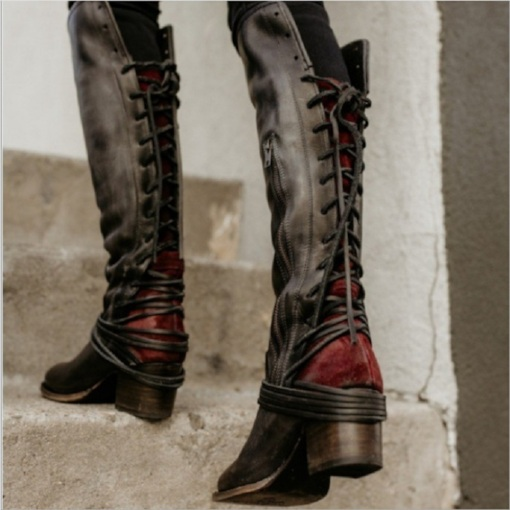 36bdc70ef Women Vintage Lace Up European Style Bandage Above Knee Boots