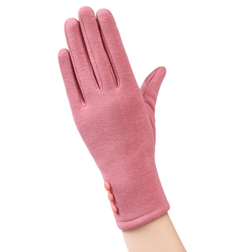 Button Decorated Suede Casual Winter Gloves