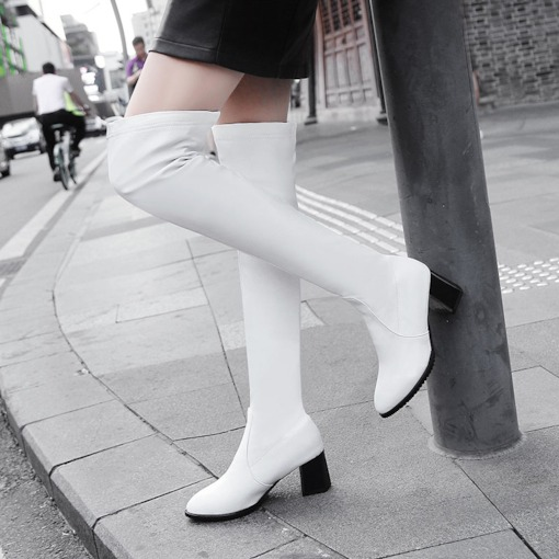 Plain Round Toe Chunky Heel Slip-On Chic Womne's Knee High Boots