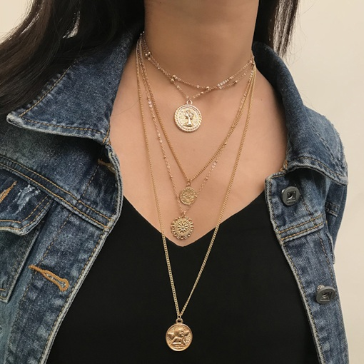 Vintage Golden Coin Design Layered Necklace