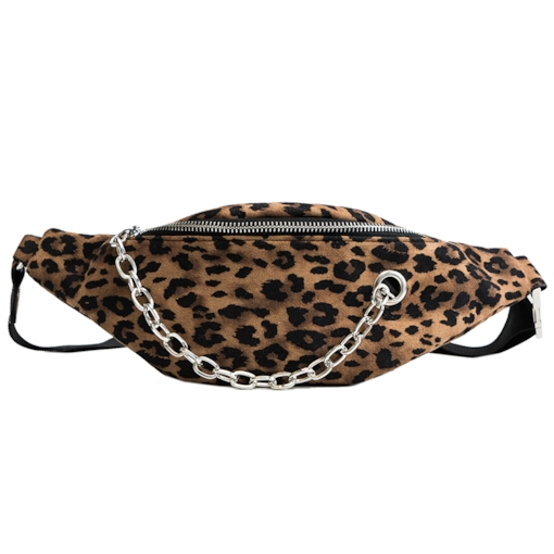 Sport Chain Leopard PU Rectangle Chain Crossbody Waist Fanny Pack