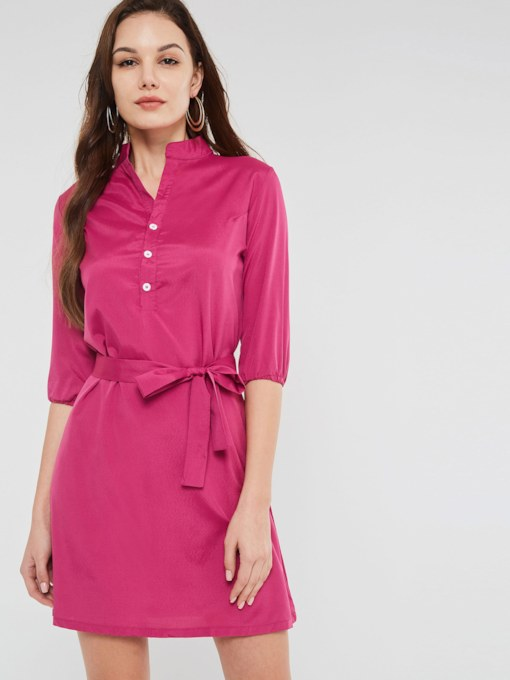 Single-Breasted 3/4 Length Sleeves Women's Day Dress