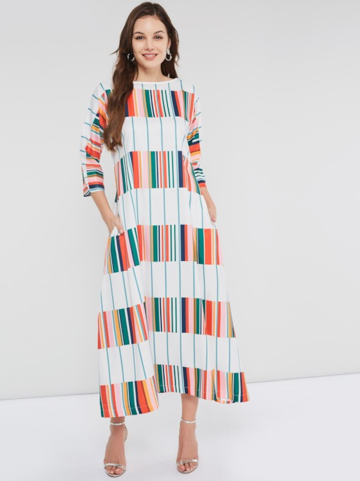 Three-Quarter Sleeve Stripe Women's Maxi Dress