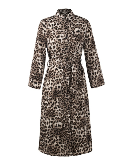 Leopard Single-Breasted Lapel Women's Long Sleeve Dress