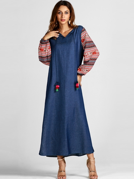 Lace-Up Pullover Long Sleeve Women's Maxi Dress