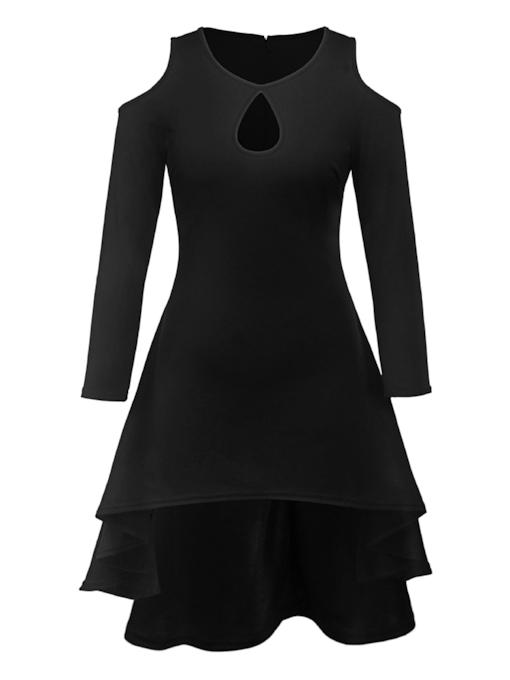 Hollow Asymmetrical Women's Long Sleeve Dress