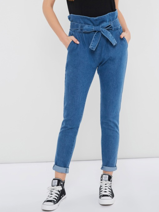 Loose Lace-Up Plain High-Waist Women's Mom Jeans