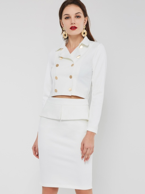 Plain Elegant Button Double-Breasted Shirt & Skirt Women's Two Piece Sets