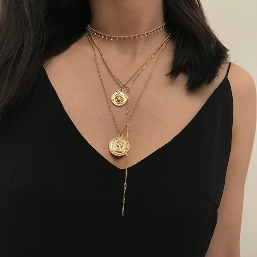 Vintage Coin Pendant Golden Layered Necklace