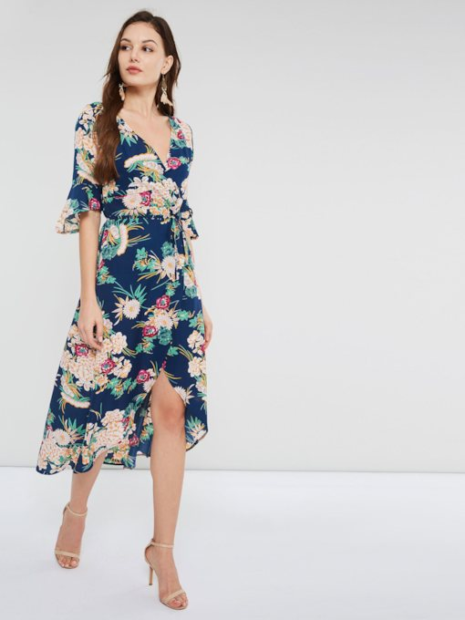 Three-Quarter Sleeve Print Floral Women's Day Dress