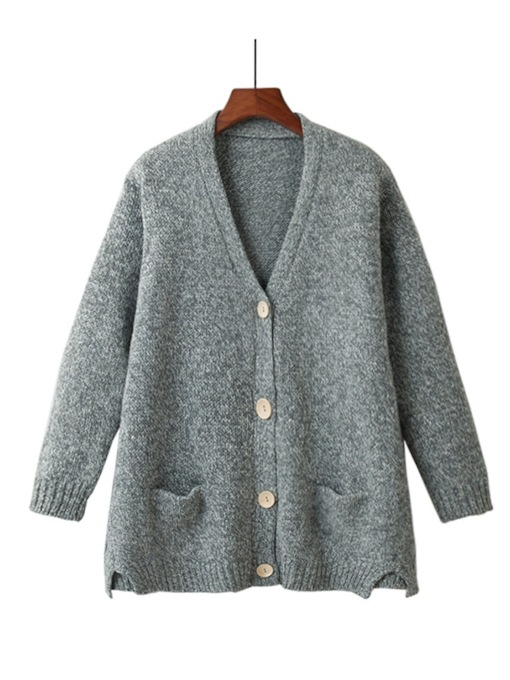 Single-Breasted V-Neck Pocket Women's Cardigan