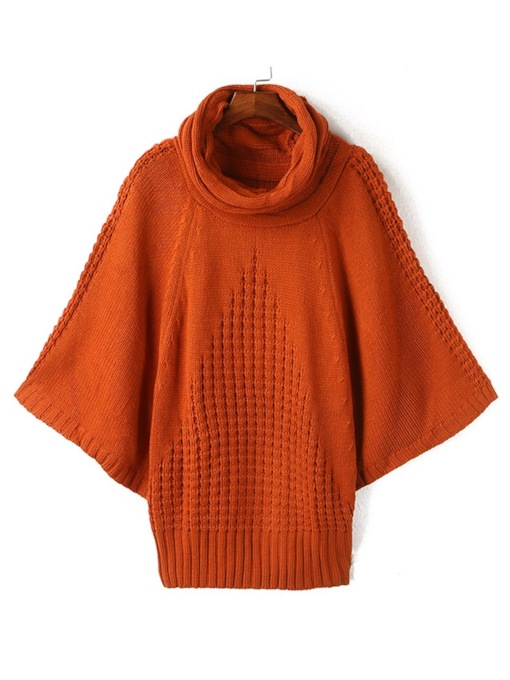 Batwing Sleeve High Neck Mid-Length Women's Sweater