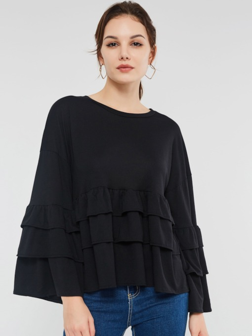 Falbala Round Neck Flare Sleeve Women's Blouse