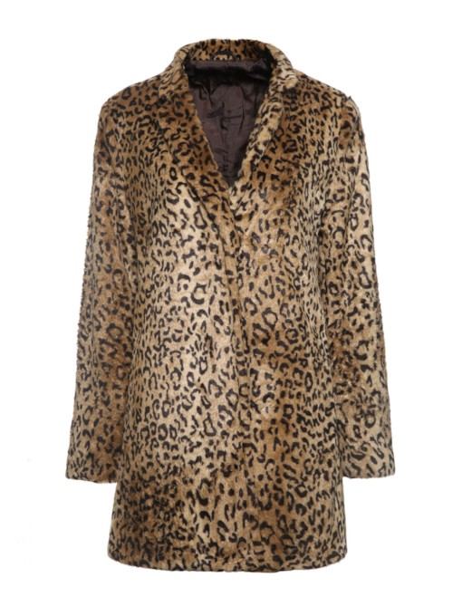 Single-Breasted Leopard Mid-Length Women's Overcoat