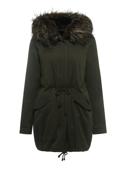 Zipper Straight Faux Fur Mid-Length Women's Cotton Clothes