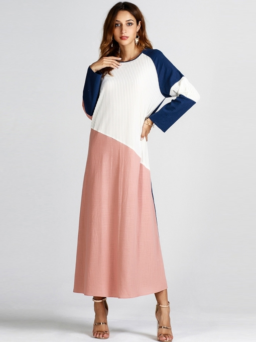Pullover Patchwork Color Block Women's Long Sleeve Dress