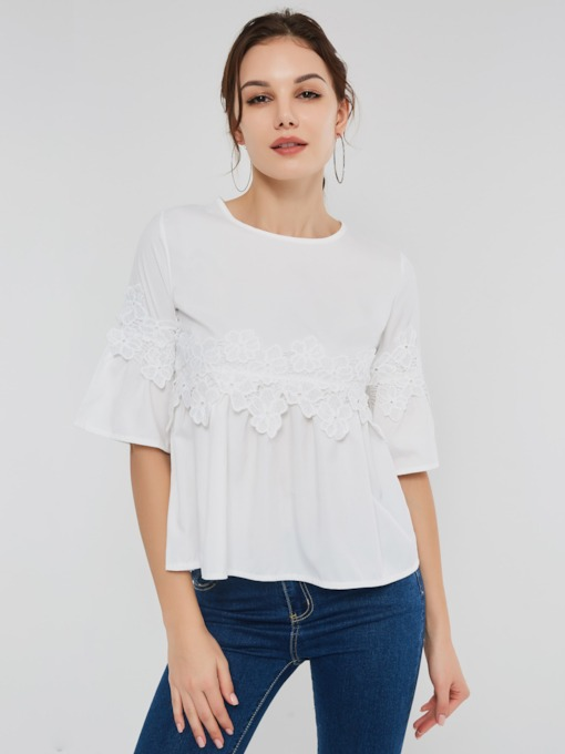 Lace Flare Sleeve Plain Women's Blouse
