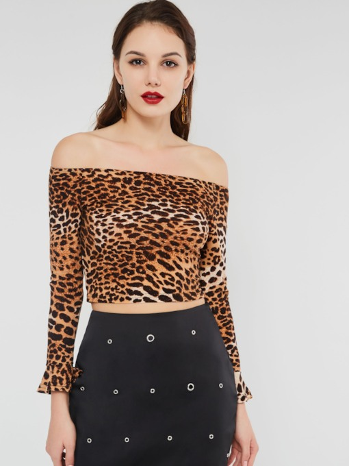Off Shoulder Leopard Backless Women's T-Shirt