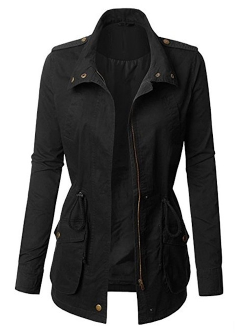 Zipper Lapel Mid-Length Women's Trench Coat