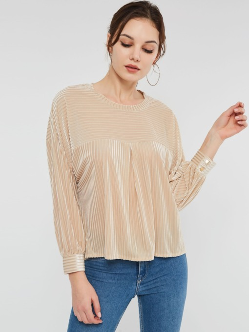 Plain Thread Lantern Sleeve Women's Blouse