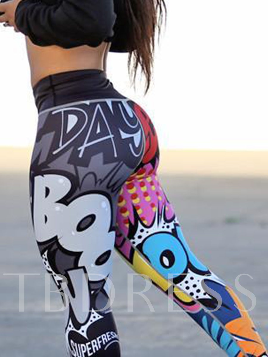 Letter Color Block Print Women's Pants