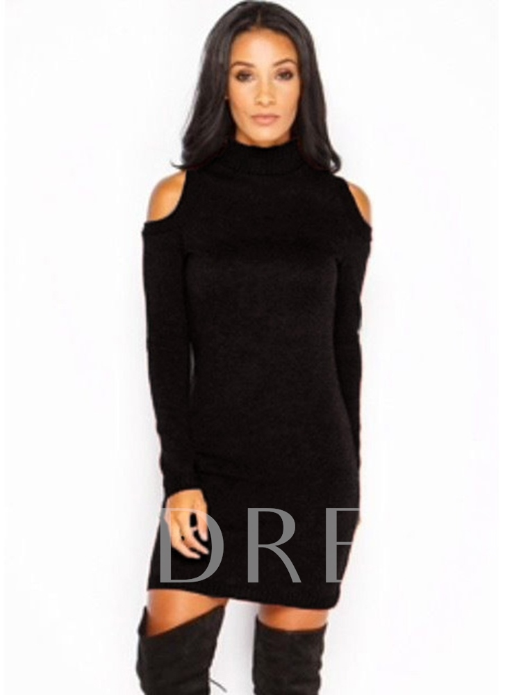 Long Sleeve Pullover Stand Collar Women's Sweater Dress