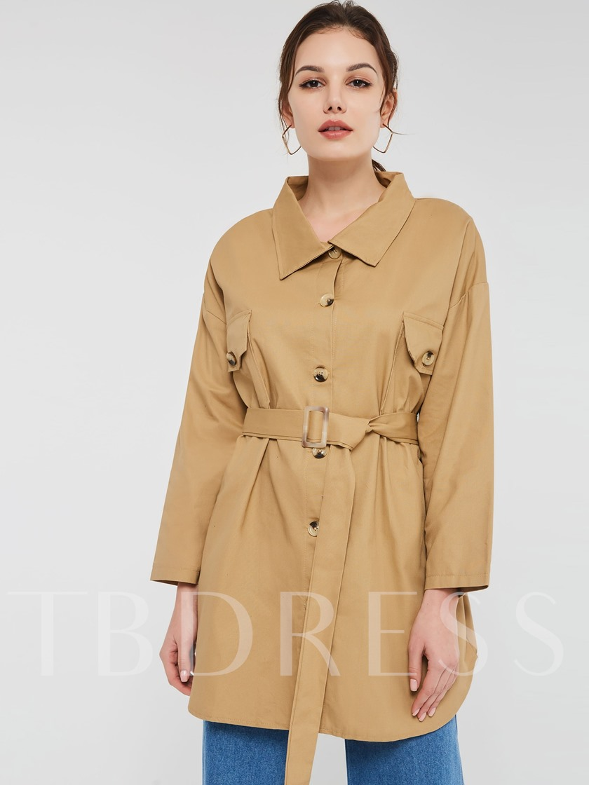 Single-Breasted Belt Lapel Camel Coat Women's Trench Coat