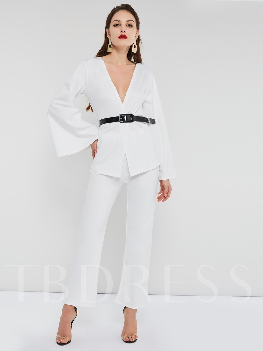 White Sexy Belt Shirt & Straight Pants Women's Two Piece Sets