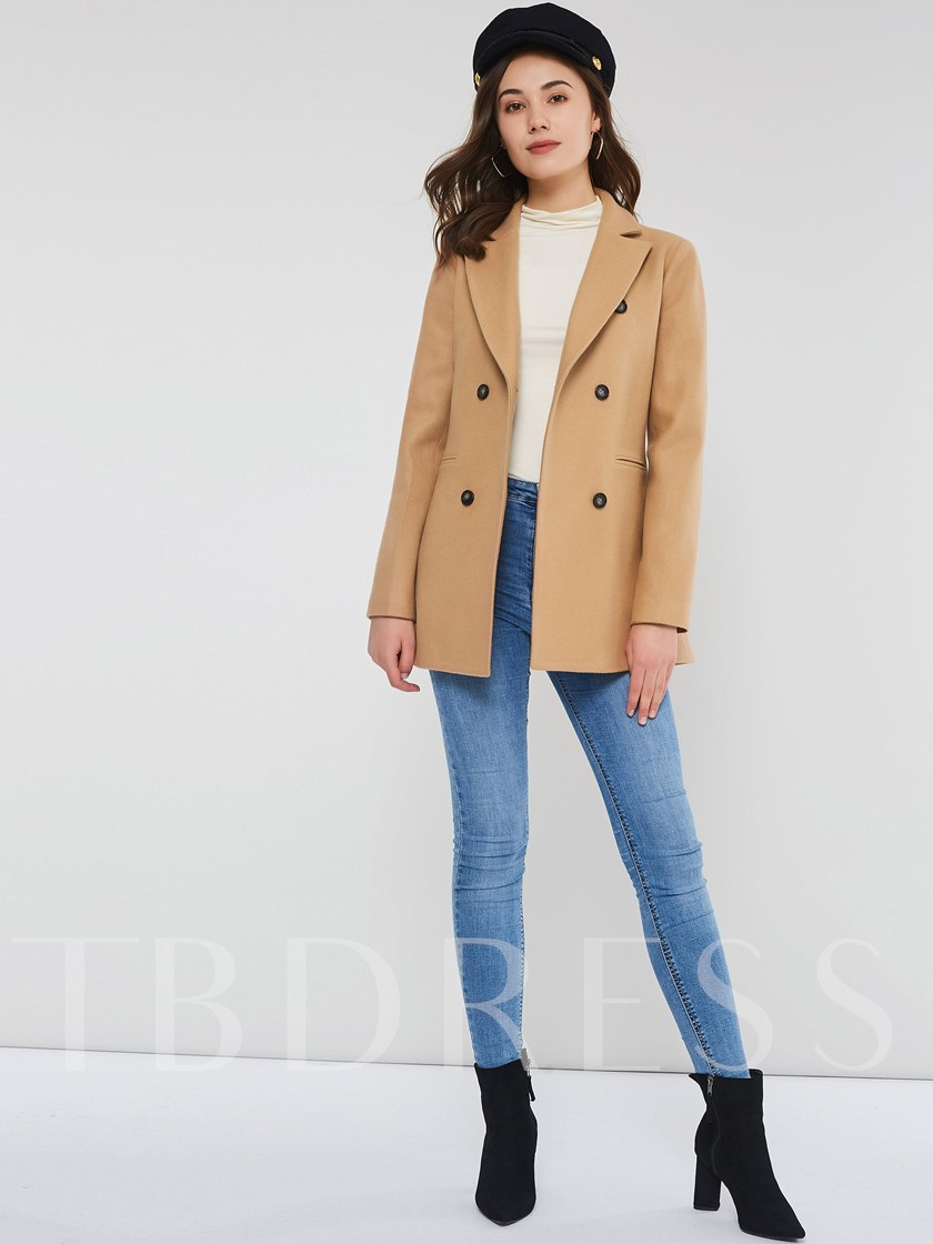 Slim Double-Breasted Button Mid-Length Camel Coat Women's Overcoat