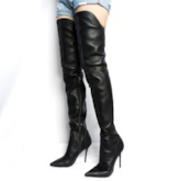 Pointed Toe Slip-On Over-The-Knee Stiletto Heel Women's Boots