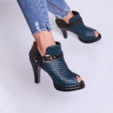 Dark Blue Belted Peep Toe Fashion Ankle Boots for Women