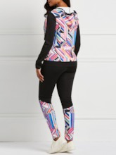 Fashion Patchwork Geometric Hooded and PantsWomen's Two Piece Sets