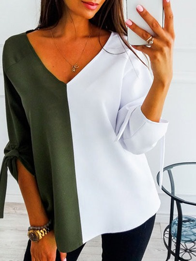 V-Neck Color Block Long Sleeve Loose Womens T-Shirt V-Neck Color Block Long Sleeve Loose Women's T-Shirt