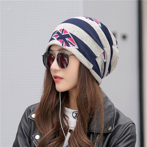 Stripe Pattern Dome Cotton Skullies & Beanies