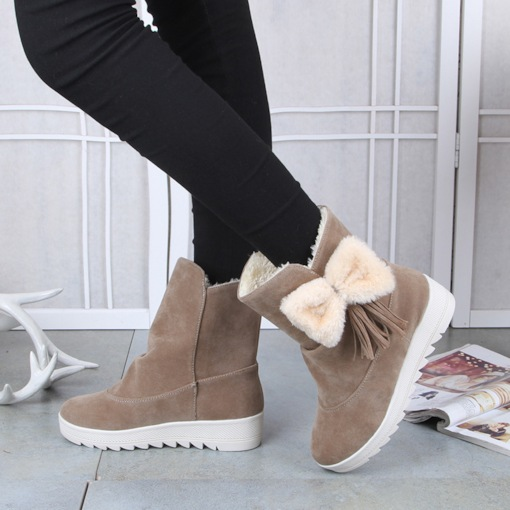 Slip-On Round Toe Short Floss Ladylike Women's Ankle Snow Boots