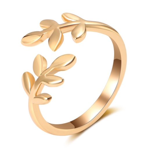 Opening Golden Leaf Shape Copper Plated Ring