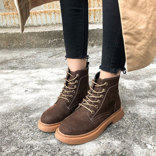 Round Toe Lace-Up Front Block Heel Casual Women's Martin Boots